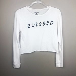 Friends Show Blessed White Long Sleeve Crop Top